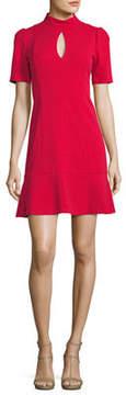 Donna Morgan Mock-Neck Keyhole Flounce Dress