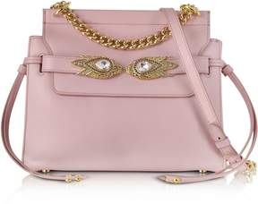 Roberto Cavalli Mauve Leather Shoulder Bag W/goldtone And Crystals Snake Heads