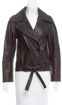 Bassike Double-Breasted Leather Jacket