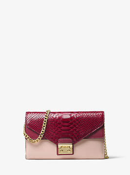 Michael Kors Sloan Color-Block Leather Chain Wallet - PINK - STYLE