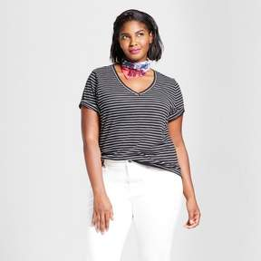 Ava & Viv Women's Plus Size Striped V-Neck T-Shirt Black