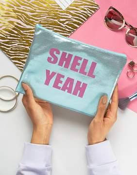 South Beach Shell Yeah Metallic Blue Pouch