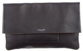 Michael Kors Leather Fold-Over Clutch - BLACK - STYLE