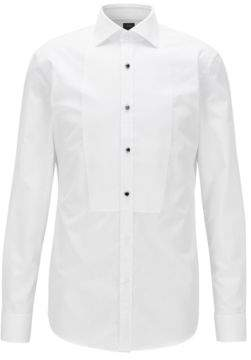 BOSS Hugo Dobby-Bib 2-Ply Cotton Tuxedo Shirt, Slim Fit T-Calvin 16 White
