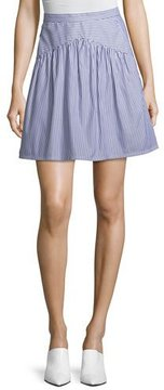 Atlantique Ascoli Striped A-Line Knee-Length Cotton Poplin Skirt
