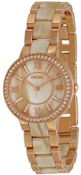 Fossil Virginia Rose Dial Rose Gold-tone and Horn Acetate Ladies Watch
