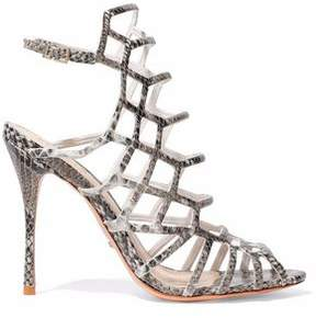 Schutz Juliana Cutout Python-Effect Leather Sandals