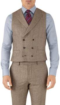 Charles Tyrwhitt Tan Check Adjustable Fit British Serge Luxury Suit Wool Vest Size w46