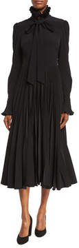 Co Reverse-Pleated Necktie Midi Dress, Black
