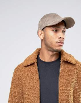 Asos Baseball Cap In Gray Faux Suede