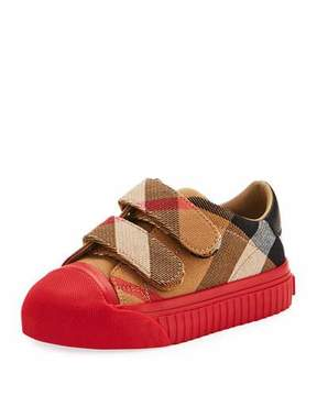 Burberry Belside Check Sneaker, Beige/Red, Youth