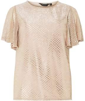 Dorothy Perkins Gold Glitter Angel Sleeve Top