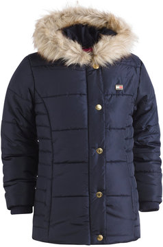 Tommy Hilfiger Hooded Peacoat Puffer Coat with Faux-Fur Trim, Little Girls (4-6X)