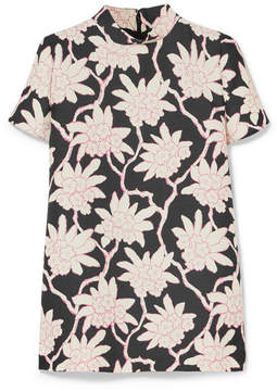 Valentino Printed Wool And Silk-blend Top - Pink