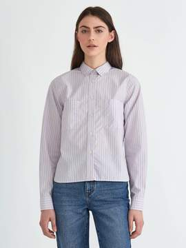 Frank and Oak Papertouch Striped Big Shirt in Dusty Pink