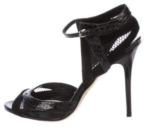 Brian Atwood Snakeskin-Trim Ankle Strap Sandals