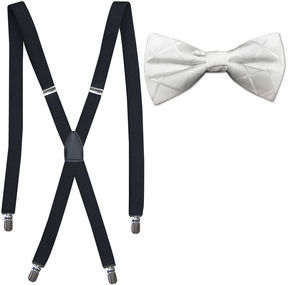 Jf J.Ferrar JF Tonal Grid Bow Tie and Suspender Set