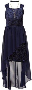 I.N. Girl Big Girls 7-16 Velvet/Chiffon A-Line Dress