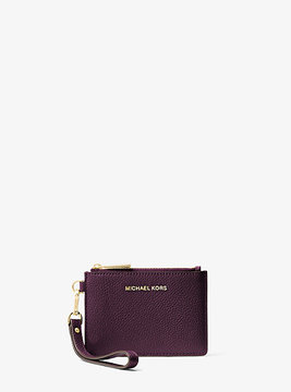 Michael Kors Mercer Leather Coin Purse - PURPLE - STYLE