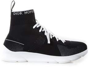 Christian Dior Black Elastic Fabric High Top Sneakers