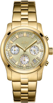 JBW Alessandra Womens 1/5 CT. T.W. Diamond Gold-Tone Stainless Steel Bracelet Watch JB-6217-E