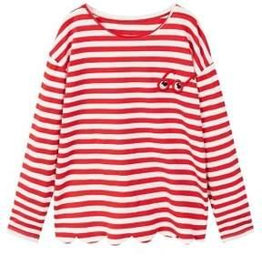 MANGO Scalloped hem striped t-shirt