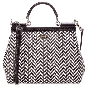 Dolce & Gabbana Miss Sicily Chevron Leather & Snakeskin Satchel. - BLACK/WHITE - STYLE