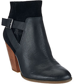Sole Society As Is Leather Stacked Heel Ankle Boots - Hollie