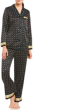 Cabernet Petite Border-Print Satin Pajamas