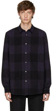 Robert Geller Navy Dyed Plaid Shirt
