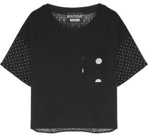 Moschino Polka-dot Silk-chiffon And Cotton-jersey T-shirt - Black