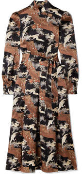 Co Belted Printed Silk-satin Midi Dress - Brown