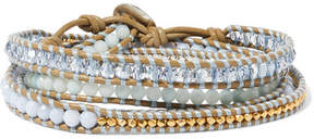 Chan Luu Gold-plated, Amazonite, Agate And Leather Wrap Bracelet - Beige