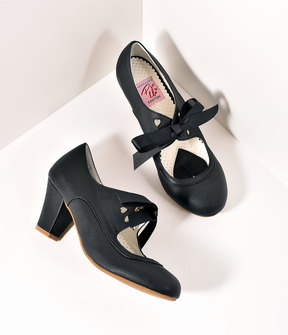 Unique Vintage Vintage Style Black Leatherette Mary Jane Bow Wiggle Heels Shoes