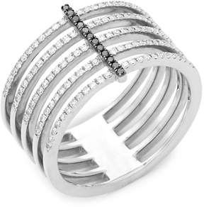 Ef Collection Women's Black Diamond and 14K White Gold Bar Spiral Ring, 0.32 TCW