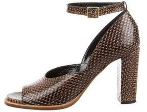 Dries Van Noten Embossed Ankle Strap Sandals
