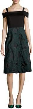 Donna Ricco Women's Textured Squareneck Knee-Length Dress