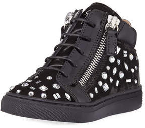 Giuseppe Zanotti Girls' London Velvet & Crystal Mid-Top Sneaker, Infant/Toddler