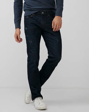 Express Slim Dark Wash Raw Cut Hem Stretch Jeans