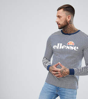 Ellesse Striped Long Sleeve T-Shirt With Logo In Navy