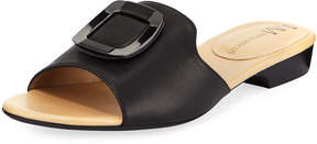 Neiman Marcus Bagot Leather Slide Sandals, Black