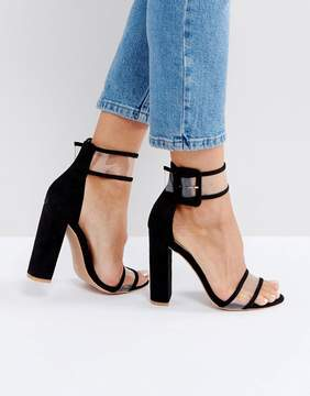 Public Desire Mission Black Clear Strap Block Heeled Sandals