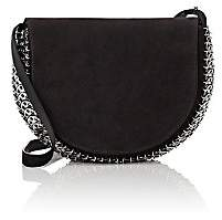 Paco Rabanne Women's 14#02 Half Moon Suede Crossbody Bag-Anthracite