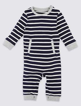 Marks and Spencer Rib Stripe Pure Cotton All in One