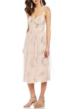 Chelsea & Violet Floral Embroidered Tie-Strap Sweetheart Midi Dress