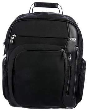 Tumi Leather-Trimmed Woven Backpack
