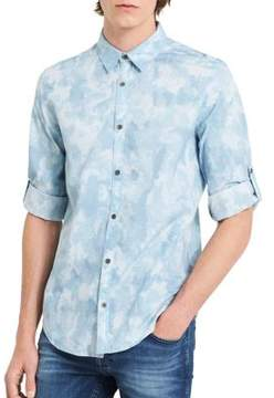 Calvin Klein Jeans Cloud-Print Denim Button-Down Shirt