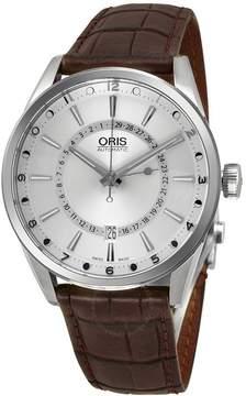 Oris Artix Pointer Moon Silver Dial Brown Leather Men's Watch 76176914051LS