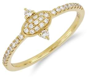 Bony Levy 18K Yellow Gold Diamond Detail Oval Ring - Size 7
