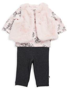 Offspring Baby Girl's Three-Piece Delicate Blush Top, Faux Fur Vest & Pants Set